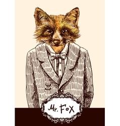 Fox in jacket vector