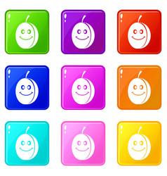 Fresh smiling plum set 9 vector