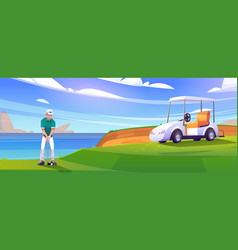 Golf course on lake shore with man and cart vector