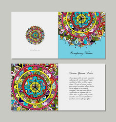greeting card design floral mandala vector image
