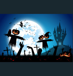 halloween festival backgroundfull moon on dark vector image