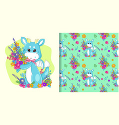 hand drawn cute dragon and flowers with pattern vector image