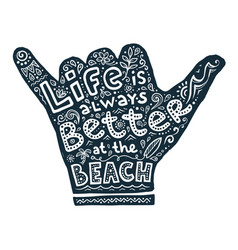 hand drawn shaka with lettering and symbols vector image