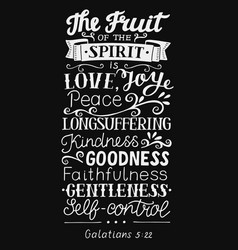 Hand lettering with bible verse the fruit of the vector