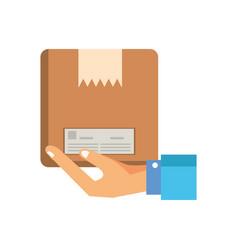 hand lifting box carton packing postal service vector image
