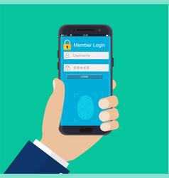 hands with smartphone unlocked vector image