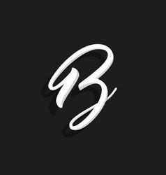 handwritten logo letter b vector image