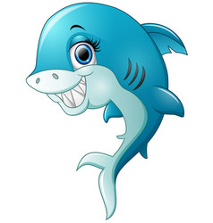 Happy shark cartoon isolated on white background vector