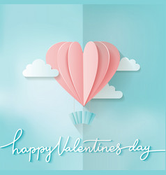 Heart shape pink hot air balloon flying love vector