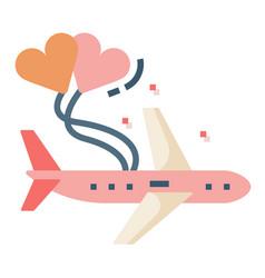 Honeymoon travel flat vector