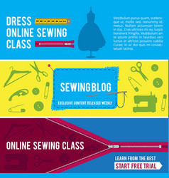 Horizontal banners for tailor shop with pictures vector