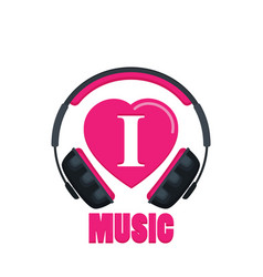 I love music flat vector