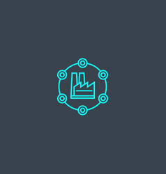 industry 40 concept blue line icon simple thin vector image