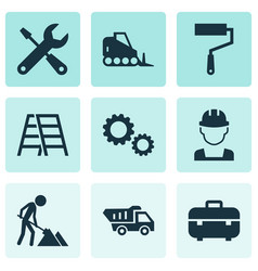 Industry icons set collection of paint roller vector