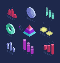 isometric 3d business statistics data charts vector image