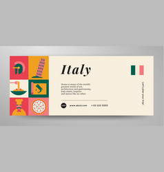 Italy travel banner layout vector