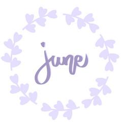 june purple wreath with flower summer violet vector image