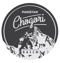 k2 in karakoram pakistan outdoor adventure badge vector image