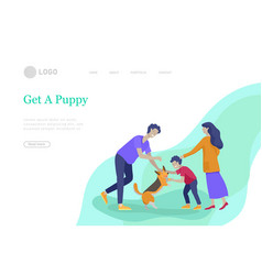 Landing pages set with collection family hobby vector