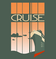 Large transoceanic cruise ship at sunset vector