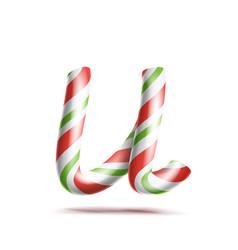 Letter u 3d realistic candy cane alphabet vector
