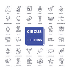 Line icons set circus vector