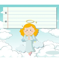Line paper design with angel flying vector image
