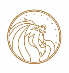 Lion roaring circle gold logo white vector