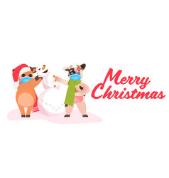little oxes in santa hats standing with snowman vector image