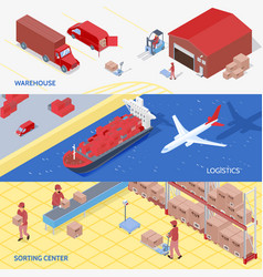 Logistics services isometric banners vector