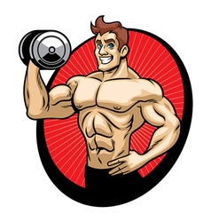 man bodybuilder mascot vector image