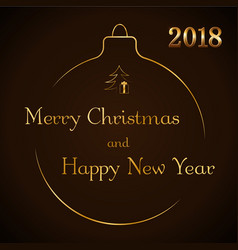 merry christmas and happy new year gold text vector image
