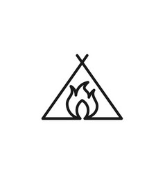 mono line fire for adventure logo design vector image