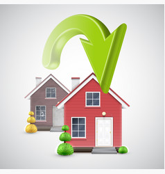 Moving to a new house with a green arrow vector