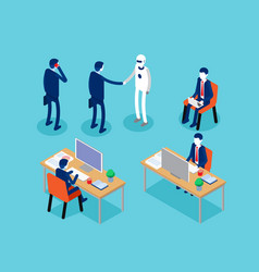 office business man isometric projection concept vector image