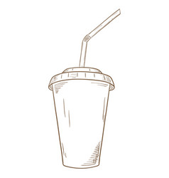 paper cup with lid and drinking straw hand drawn vector image