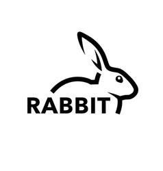 rabbit logo bunny line icon vector image