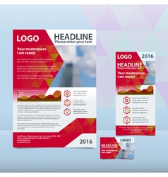 Red annual report with the pattern of triangles vector image