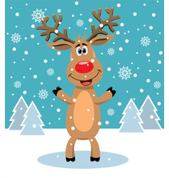 red nosed reindeer vector image