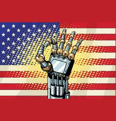 Robot ok gesture us flag vector
