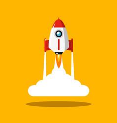 rocket launch symbol spaceship flat design icon vector image