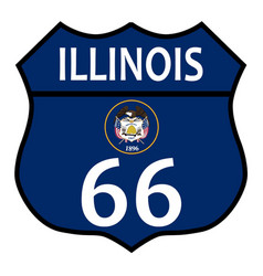 Route 66 illinois sign and flag vector
