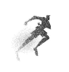 Running man silhouette particle dust splash art vector