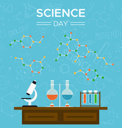 science day card of school tools for education vector image