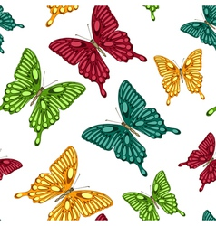 seamless background bright colorful butterflies vector image