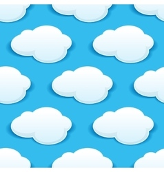 Seamless background pattern of fluffy white clouds vector