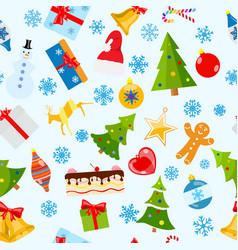 seamless pattern christmas symbols vector image