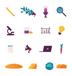 set business food and science icons isolated vector image