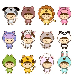set kids in cute animals costumes vector image