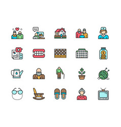 Set nursing home flat color line icons vector